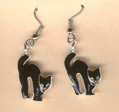 Spooky Pewter BLACK CAT EARRINGS - Kitty with Arched Back Halloween Witch Charm Jewelry
