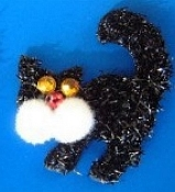 CAT PIN - Lucky 13 - Halloween Witch Jewelry - Puffy Sparkle BLACK