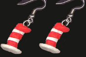 Funky Mini Figure Dr Seuss CAT in the HAT Red White Striped HAT EARRINGS - Naughty Kitty Movie Book Character Novelty Costume Jewelry - Cute detailed hand painted dimensional resin miniature charm ornament. Whimsical mischievous feline charms