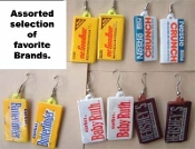 Vintage Mini CHOCOLATE CANDY BAR EARRINGS - 1-pair Chosen from 5 assorted miniature Brands, as shown.