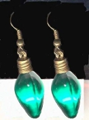 GREEN Christmas LIGHT BULB EARRINGS - Holiday Charm Jewelry