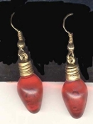RED Christmas LIGHT BULB EARRINGS - Holiday Charm Jewelry