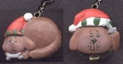 CHRISTMAS PUPPY DOG RESIN EARRINGS - Resin Pet Veterinarian Xmas Jewelry - Resin