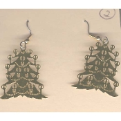 Pretty Christmas TREE EARRINGS - GOLD Brass Filigree Xmas Holiday Charm Jewelry