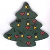 "Christmas TREE with ornaments MAGNET - Xmas Crafts Painted WOOD Stocking Stuffer Gift - Approx. 2-1/2"" in diameter."