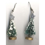 Christmas TREE with Star SISAL EARRINGS - Country Holiday Gift Jewelry - Frosted with SNOW -Approx 1.25-inch (3.13cm) tall charm size.