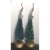 "Christmas TREE SISAL EARRINGS - Gift Jewelry - Vintage - 2"" -B"