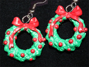 Huge Christmas WREATH EARRINGS - Resin Dimensional Holiday Charm Jewelry