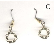 Christmas WREATH EARRINGS - Gold-tone Genuine BRASS Xmas Charm Jewelry -C