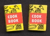 COOK BOOK BUTTON EARRINGS - Mini Baking Cooking Chef Restaurant Kitchen Jewelry