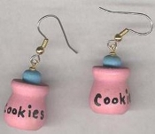 Mini COOKIE JAR EARRINGS - Baking Grandma Cooking WOOD Miniature Bakery charm Jewelry