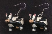 COW EARRINGS - Tiny 3D Charm Miniature Country Dairy Farm Animal Jewelry