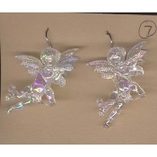 Huge Funky CUPID CHERUB PLAYING FLUTE EARRINGS - Big Seasonal Spiritual Holiday Heavenly Baby ANGEL Music Teacher Musician Novelty Costume Jewelry - Large Acrylic Crystal Plastic Iridescent Aurora Borealis Musical Theme Charm Mini Figure