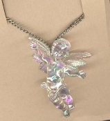 CUPID CHERUB PENDANT NECKLACE - Baby ANGEL Love Charm Jewelry - IRRIDESCENT Large Crystal Acrylic Plastic Charm