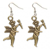 Funky CUPID EARRINGS - CHERUB ANGEL with ARROW Gold-tone Pewter Spiritual Archery Love Charms Novelty Costume Jewelry - Victorian Theme Vintage Style Antiqued Brass miniature dimensional metal charm. Great gift for your Valentine sweetheart!