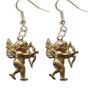 Funky Rubenesque CUPID CHERUB ANGEL AIMING BOW and ARROW EARRINGS - Archery Love Theme Charms Novelty Costume Jewelry - Victorian style Vintage look, Brass miniature dimensional stamped pressed metal charm. Great gift for your Valentine sweetheart!