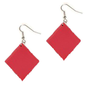HUGE Lucky Charm Red DIAMOND PLAYING CARD SUIT EARRINGS - BlackJack Poker Luck Jewelry