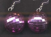 Funky HUGE DISCO BALL EARRINGS - Light PINK - Large Novelty Dance Club Party Retro DJ Disco Costume Jewelry - BIG Metallic Hollow Plastic sphere charm, 1.5-inch (3.75cm) diameter balls. Star, Empire, Dancing with the Stars, Saturday Night Fever fans!