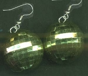 Funky HUGE DISCO BALL EARRINGS - Peridot GREEN - Large Novelty Dance Club Party Retro DJ Disco Costume Jewelry - BIG Metallic Hollow Plastic sphere charm, 1.5-inch (3.75cm) diameter. Star, Empire, Dancing with the Stars, Saturday Night Fever fans!