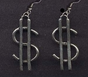 DOLLAR SIGN EARRINGS - Cash Money Bank Teller Novelty Jewelry - Large Silver-tone