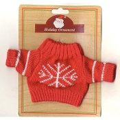 DOLL TEDDY BEAR SWEATER with Snowflake - Christmas Gift RED Knit - Knitted Mini Top Fits American Girl Doll or 10-12-inch (25-30cm) Teddy Bear