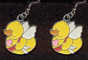 DUCKY CUPID ANGEL EARRINGS - Cute Valentine's Day Costume Party Charm Jewelry