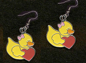 DUCKY HEART EARRINGS - Cute Valentine's Day Costume Party Charm Jewelry -RED