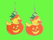 Cute DUCKY JACK-O-LANTERN EARRINGS - Halloween Pumpkin Trick-or-Treat Costume Party Jewelry