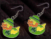 DUCKY LEPRECHAUN with DERBY EARRINGS - Cute St Patricks Day Costume Party Shamrock Charm Jewelry -LT