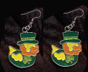 DUCKY LEPRECHAUN with TOP HAT EARRINGS - Cute St Patricks Day Costume Party Shamrock Charm Jewelry -DK