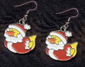 DUCKY SANTA CLAUS EARRINGS - Cute Christmas Winter Costume Party Charm Jewelry