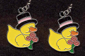 DUCKY TOP HAT with ROSES EARRINGS - Cute Valentine's Day Costume Party Charm Jewelry