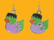 Cute DUCKY FRANKENSTEIN EARRINGS - Halloween Trick-or-Treat Monster Costume Party Jewelry