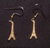 "Eiffel Tower Earrings - Vintage Gold-tone Genuine Pressed Stamped Brass Dimensional Charm - Approx. 3/8"" Wide x 3/4"" Long. How very French of you to wear these! When's the last time YOU saw Paris???"