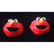 Mini Funky ELMO EARRINGS - Sesame Street 3-D TV RED MONSTER BUTTON Jewelry - Resin Dimensional Stud Charms, each approx. 5/8-inch diameter. Surgical stainless steel Posts with comfort disc backs. These are sooooo cute!