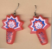 Funky FIRECRACKERS EARRINGS-Fireworks Patriotic Summer Picnic Holiday Charm Novelty Costume Jewelry-Celebrate your INDEPENDENCE DAY party spirit, not just on the Fourth of July, Mardi Gras, Chinese New Year. Dimensional Plastic Charm. Have a Bang !
