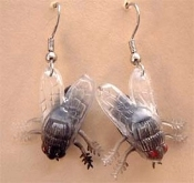 Funky FLY FLIES EARRINGS - Realistic Insect Picnic Bug Fishing Jewelry