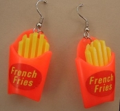 FRENCH FRY - FRIES EARRINGS - American Fast Food Restaurant Waitress Charm Jewelry
