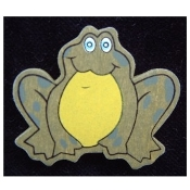Content FROG TOAD BUTTON PIN BROOCH - WOOD Pond Frogs Jewelry