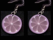 FRUIT SLICE PURPLE CITRUS EARRINGS - Summer Luau Party Drink Juice Jewelry