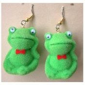 Big FROG TOAD FUZZY EARRINGS - Mini Funky Pond Amphibian Pet Animal Jewelry