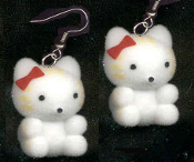 Funky Collectible Flocked HELLO KITTY FUZZY TIGER EARRINGS - Cat DIY Jewelry