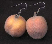 Huge Funky Realistic FUZZY PEACH EARRINGS - Big Fruity Novelty Fun Food Costume Jewelry - Real look and feel! Large-size, lightweight miniature flocked polystyrene charm Peaches. These are truly just Georgia peachy!