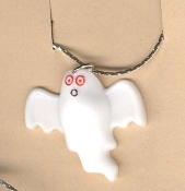 GHOST CUTE PENDANT NECKLACE-Halloween Casper Charm Funky Jewelry
