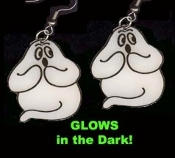 HUGE Funky GLOW GHOST EARRINGS - Halloween Haunted House Trick-or-Treat Novelty Charm Costume Jewelry - GID - Glow-in-the-Dark Plastic Charms, each approx. 1.5-inch (3.75cm) Tall. *Needs no batteries, never wears out. Charges in Bright Light!