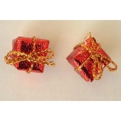 Funky Dimensional Miniature GIFT PACKAGE BUTTON POST EARRINGS-Christmas, Holiday, Birthday, Valentine's Day or Anniversary Present Novelty Theme Charm Costume Jewelry-Mini RED metallic foil wrapped cube with tiny gold bow.