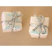 Tiny 3-d GIFT PACKAGE BUTTON EARRINGS - Christmas, Wedding or Anniversary Jewelry - WHITE