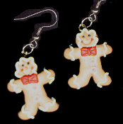 Funky Faux GINGERBREAD MAN BOW TIE EARRINGS - Cute Traditional Holiday Cookies Treat Christmas Fun Food Novelty Costume Charm Jewelry - Yummy realistic icing on golden-brown dimensional clay dough ginger bread person.