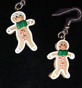 Funky GINGERBREAD MAN BOY EARRINGS - Christmas Cookie Dessert Jewelry