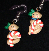 Funky GINGERBREAD MAN CANDY CANE EARRINGS - Christmas Cookie Dessert Jewelry